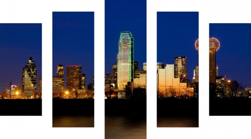 MacJac Art 5 Panel CANVAS Dallas Theme Wall Art Photography Prints Model 5PC-AL-0177