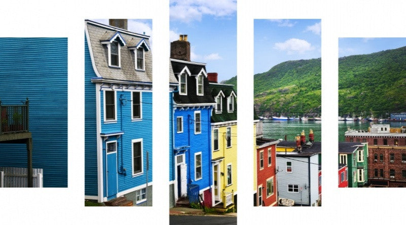 MacJac Art 5 Panel CANVAS St. John Street with Colorful Houses Theme Wall Art Photography Prints Model 5PC-AL-41395