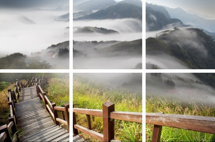 MacJac Art 6-Panel VINYL Mountain Walk Theme Wall Art Photography Prints Model AL-0367