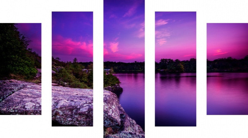 MacJac Art 5 Panel CANVAS Violet Sunset Over A Calm Lake Theme Wall Art Photography Prints Model 5PC-AL-41397
