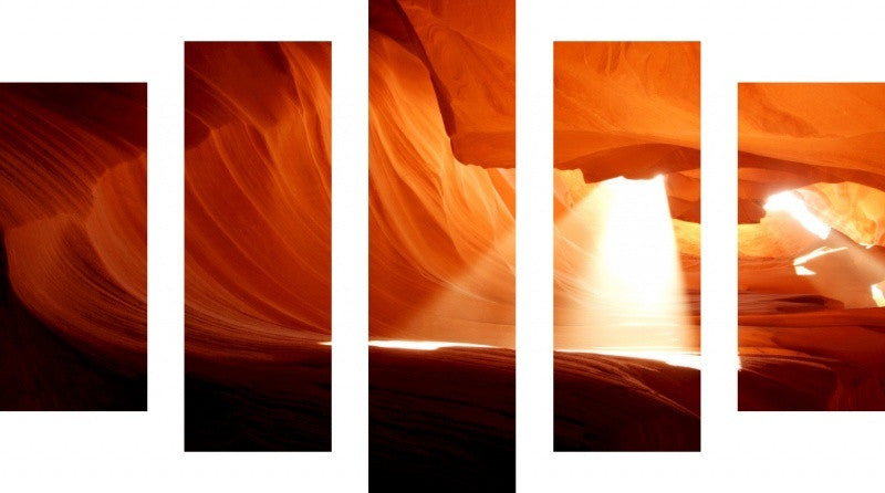 MacJac Art 5 Panel METAL Antelope Canyon Theme Wall Art Photography Prints Model 5PC-AL-0221