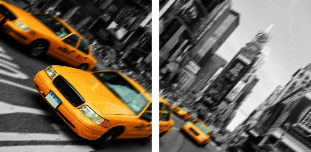 MacJac Art 2-Panel VINYL New York Taxi Theme Wall Art Photography Prints Model AL-0081