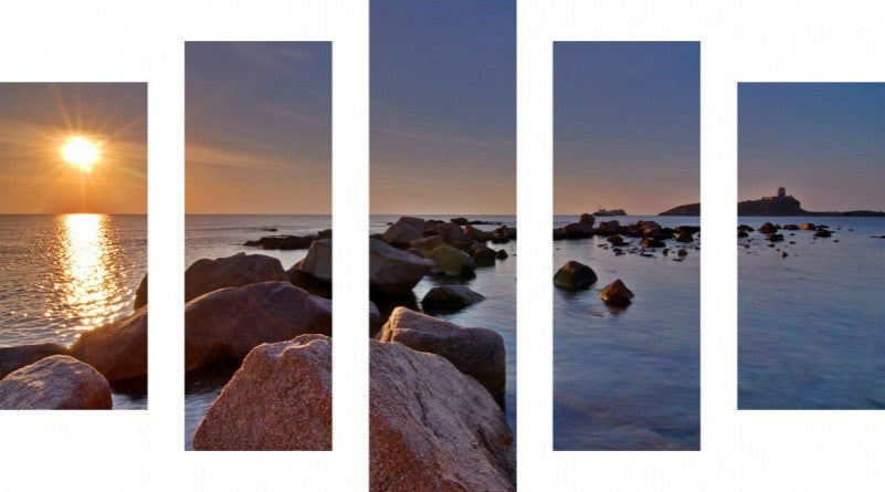 MacJac Art 5 Panel METAL Tranquil Beach Theme Wall Art Photography Prints Model 5PC-AL-0086