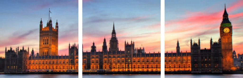 MacJac Art 3-Panel VINYL Houses of Parliament - England Theme Wall Art Photography Prints Model AL-0091