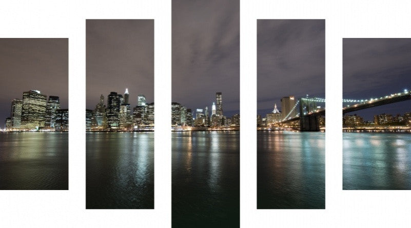 MacJac Art 5 Panel CANVAS New York City Theme Wall Art Photography Prints Model 5PC-AL-0156