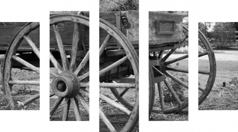 MacJac Art 5 Panel CANVAS Wagon Wheels Theme Wall Art Photography Prints Model 5PC-AL-0267