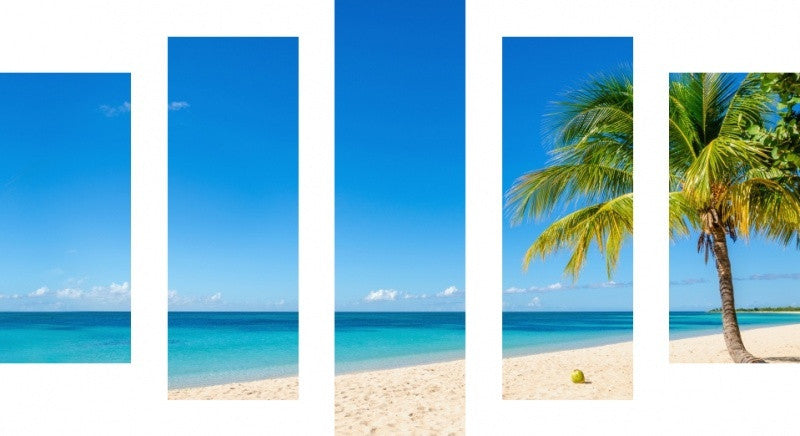 MacJac Art 5 Panel CANVAS Beach Cayman Islands Theme Wall Art Photography Prints Model 5PC-AL-41681