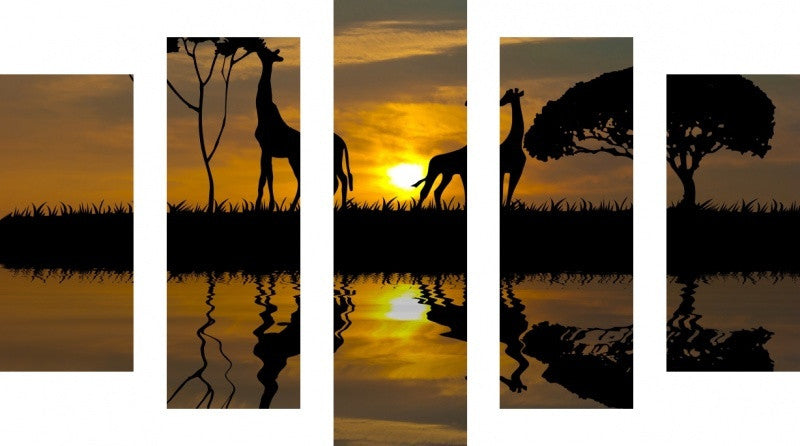 MacJac Art 5 Panel METAL Giraffe Theme Wall Art Photography Prints Model 5PC-AL-0329