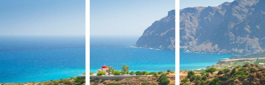 MacJac Art 3-Panel VINYL Coast of Crete Theme Wall Art Photography Prints Model AL-0388