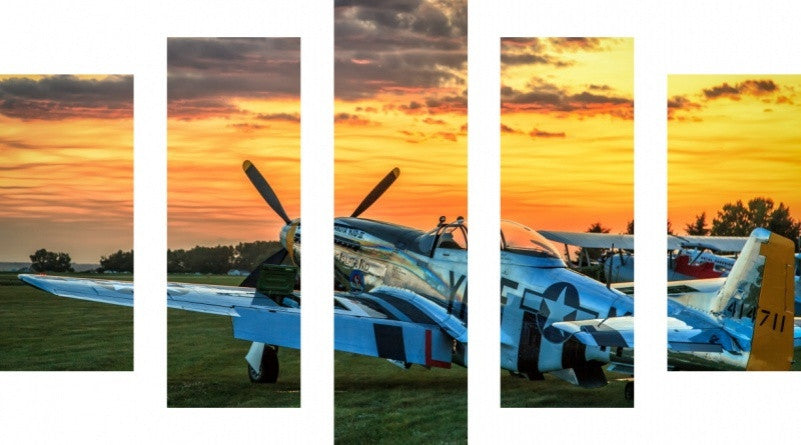 MacJac Art 5 Panel METAL Plane Theme Wall Art Photography Prints Model 5PC-1AL-0844