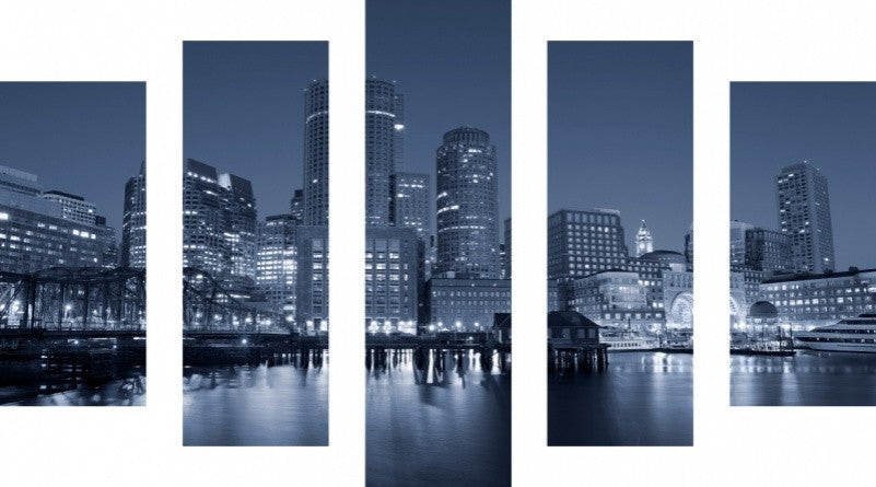 MacJac Art 5 Panel CANVAS Boston Skyline Theme Wall Art Photography Prints Model 5PC-AL-0225