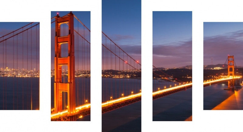 MacJac Art 5 Panel CANVAS Golden Gate Bridge San Francisco Theme Wall Art Photography Prints Model 5PC-AL-41580