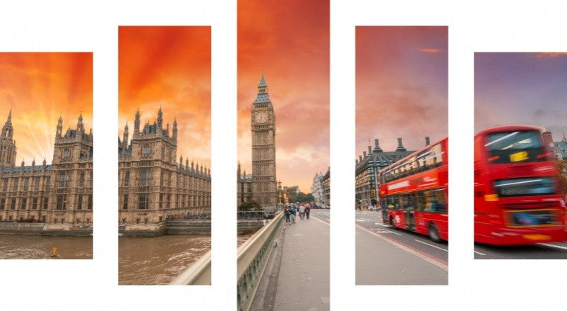 MacJac Art 5 Panel CANVAS London Theme Wall Art Photography Prints Model 5PC-AL-41299