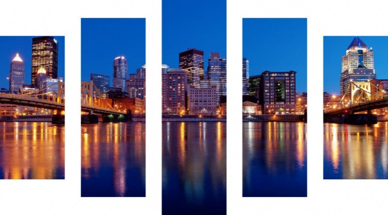 MacJac Art 5 Panel CANVAS Pittsburgh Theme Wall Art Photography Prints Model 5PC-AL-0238