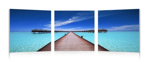 MacJac Art 3-Panel VINYL Bora Bora Dock Theme Wall Art Photography Prints Model CH-1021