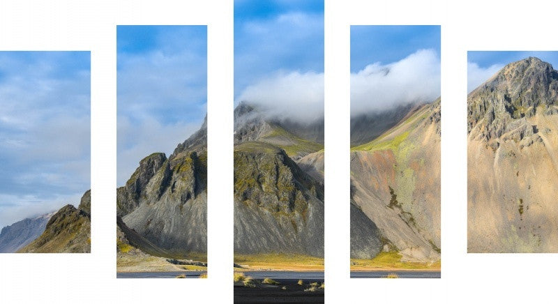 MacJac Art 5 Panel CANVAS Stokksness Iceland Theme Wall Art Photography Prints Model 5PC-AL-41647
