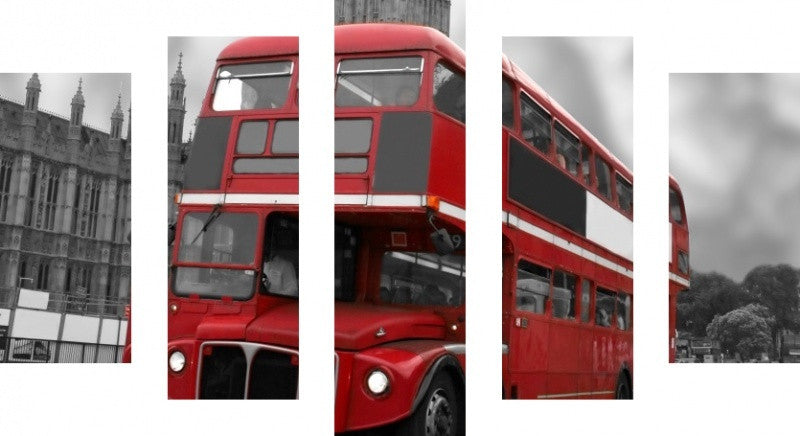 MacJac Art 5 Panel METAL London Bus Big Ben B&W Theme Wall Art Photography Prints Model 5PC-AL-0256