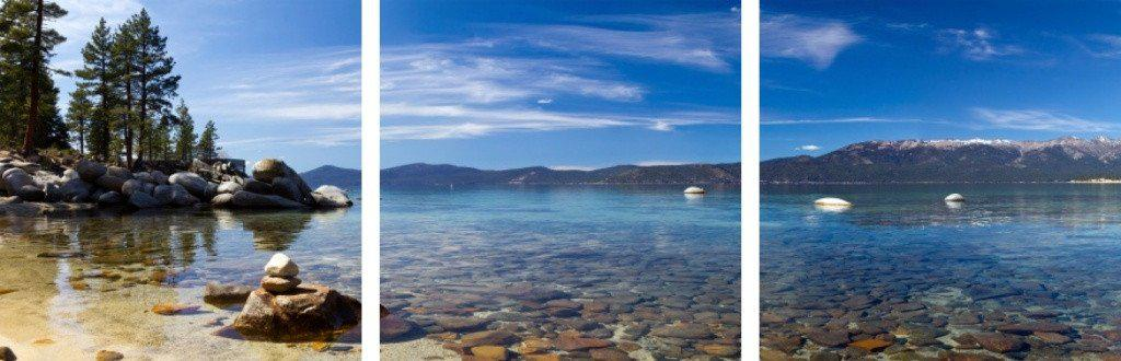 MacJac Art 3-Panel VINYL Lake Tahoe Panoramic Landscape Theme Wall Art Photography Prints Model AL-4171459