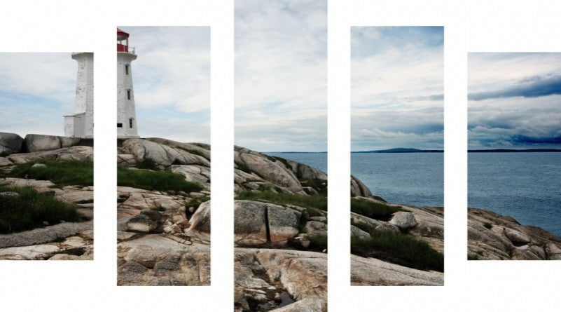 MacJac Art 5 Panel CANVAS Lighthouse Peggy's Cove Theme Wall Art Photography Prints Model 5PC-AL-0296