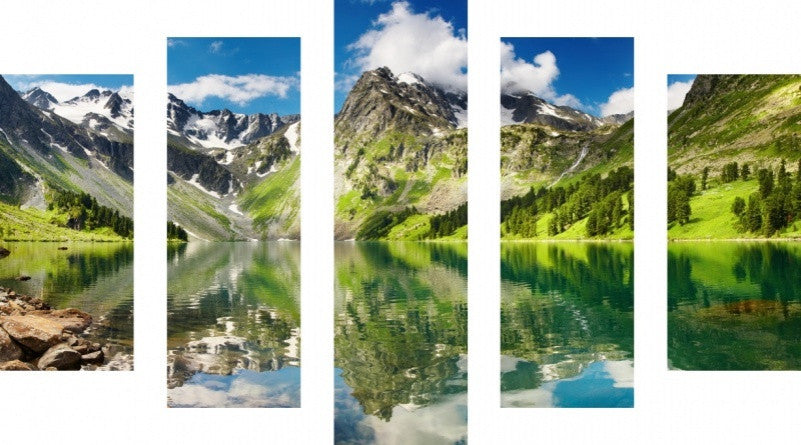 MacJac Art 5 Panel CANVAS Mountain Lake Theme Wall Art Photography Prints Model 5PC-AL-0366
