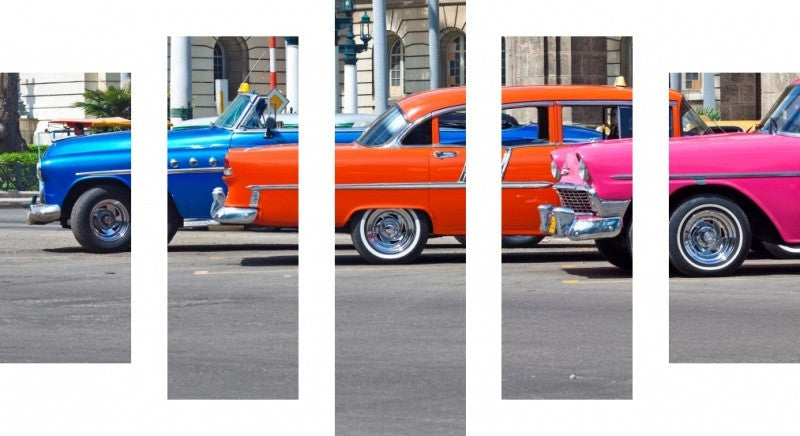 MacJac Art 5 Panel CANVAS Colourful Cars Theme Wall Art Photography Prints Model 5PC-AL-417110
