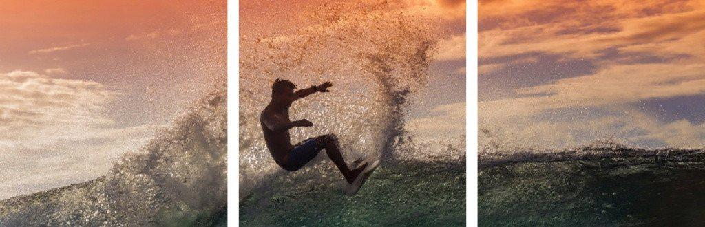 MacJac Art 3-Panel VINYL Surfer Theme Wall Art Photography Prints Model AL-41561