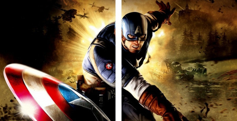 MacJac Art 2-Panel VINYL Captain America Theme Wall Art Photography Prints Model AL-4171460
