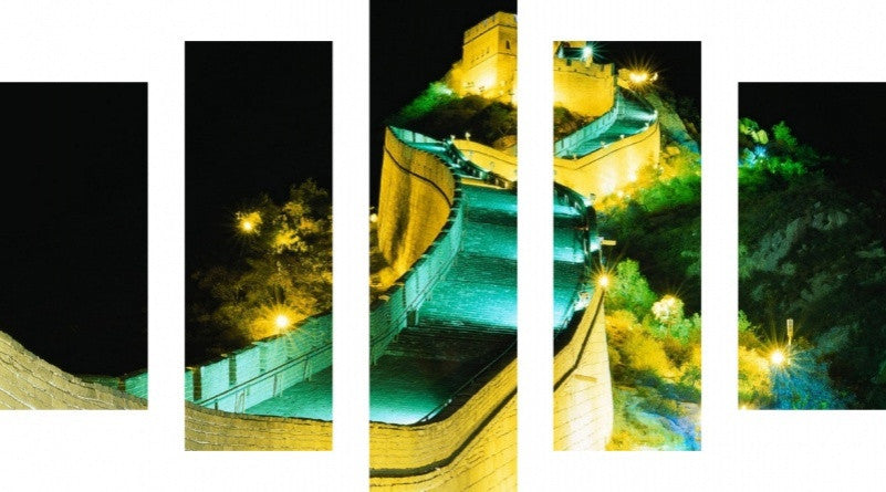 MacJac Art 5 Panel METAL Great Wall of China at Night Theme Wall Art Photography Prints Model 5PC-AL-0150