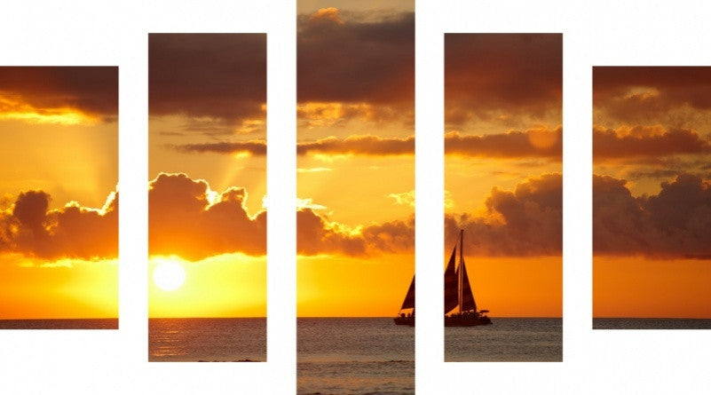 MacJac Art 5 Panel CANVAS Sailboat Theme Wall Art Photography Prints Model 5PC-AL-0279
