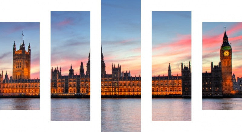 MacJac Art 5 Panel CANVAS Houses of Parliament England Theme Wall Art Photography Prints Model 5PC-AL-0091