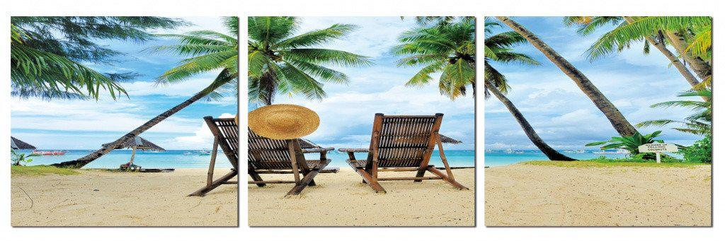 MacJac Art 0096 3-Panel VINYL Beach with Chairs & Hat Theme Wall Art Photography Prints Model CH-AL-0096