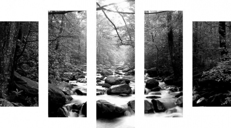 MacJac Art 5 Panel CANVAS Forest and River B&W Theme Wall Art Photography Prints Model 5PC-AL-0299