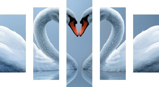 MacJac Art 5 Panel CANVAS Swans Love Duo Theme Wall Art Photography Prints Model 5PC-AL-41741