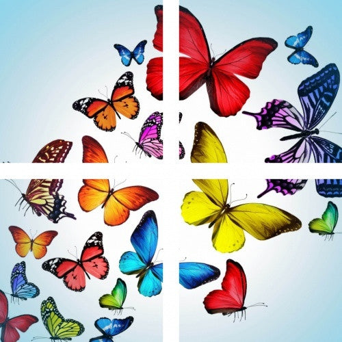 MacJac Art 4-Panel VINYL Butterfly Theme Wall Art Photography Prints Model AL-41424
