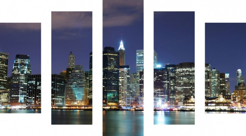 MacJac Art 5 Panel METAL New York City Theme Wall Art Photography Prints Model 5PC-AL-0117