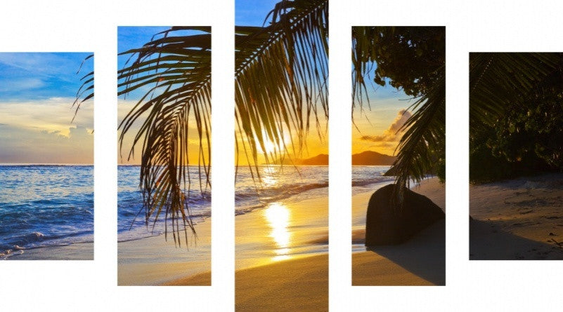 MacJac Art 5 Panel METAL Tranquil Beach Theme Wall Art Photography Prints Model 5PC-AL-0083