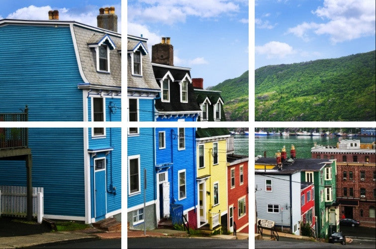 MacJac Art 6-Panel VINYL St. John Street with Colorful Houses Theme Wall Art Photography Prints Model AL-41395
