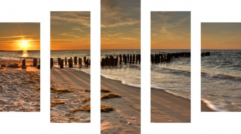 MacJac Art 5 Panel CANVAS Seascape Theme Wall Art Photography Prints Model 5PC-AL-0281