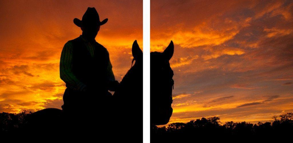 MacJac Art 2-Panel VINYL Cowboy Silhouette Theme Wall Art Photography Prints Model AL-0261