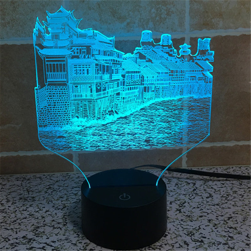 Acrylic USB Home Decoration Bulbing LED Lamp  China - Phoenix City - History - Architecture Night Light -3D-TD86