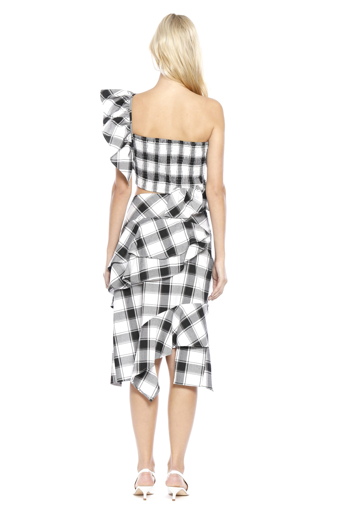 Back view of Ronda Skirt, asymmetrically layered black/white plaid skirt that is complementary to Margaret Top. 100% cotton and machine-washable.
