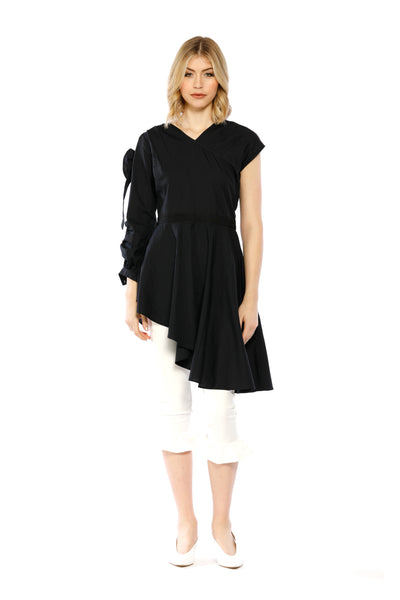Front view of Brittany Top, black asymmetrical dress with a slanted hem, ruffled long sleeve, and short sleeve.