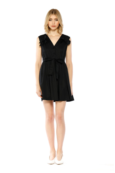 Front view of Lauren Dress, short, petite black dress with a V-neck cut and three bows - a small one on each shoulder and a larger waist one. 100% Cotton and Machine-washable.