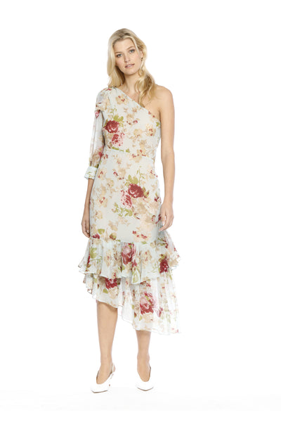 Front view of Sophina Dress, one-shouldered floral top with spring bloom motif and layered frills. Shell and lining are 100% polyester and machine-washable.