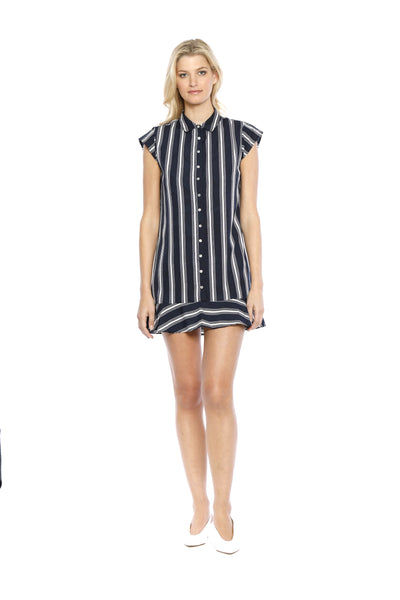 Front view of Chelsea Dress, navy-striped buttoned dress with cap sleeves and a flared dress bottom. 100% Polyester and Machine-washable.