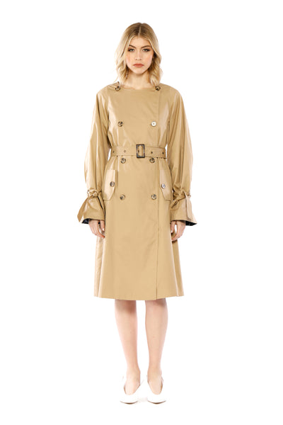 Front view of Martha Coat, svelte khaki women's leather trench coat with large cuffs. 100% Leather and Dry Clean Only.