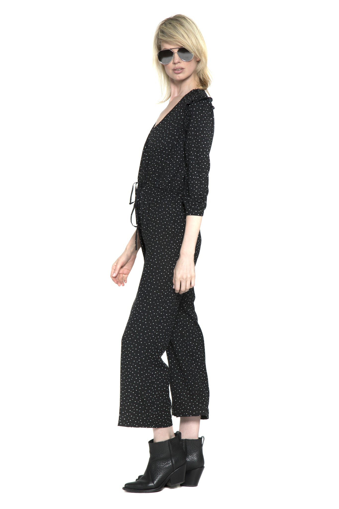 Mona Jumpsuit (Black Scattered Dot)