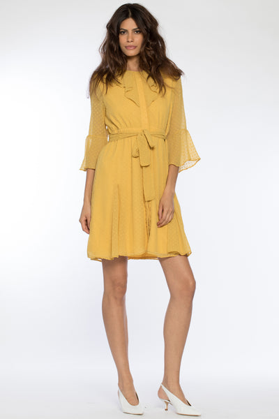 Front view of Zoey Dress, multi-layered yellow illusion spring dress with mustard swiss dot design. 100% polyester shell and lining - and machine-washable.