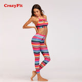 Striped two piece  yoga suit