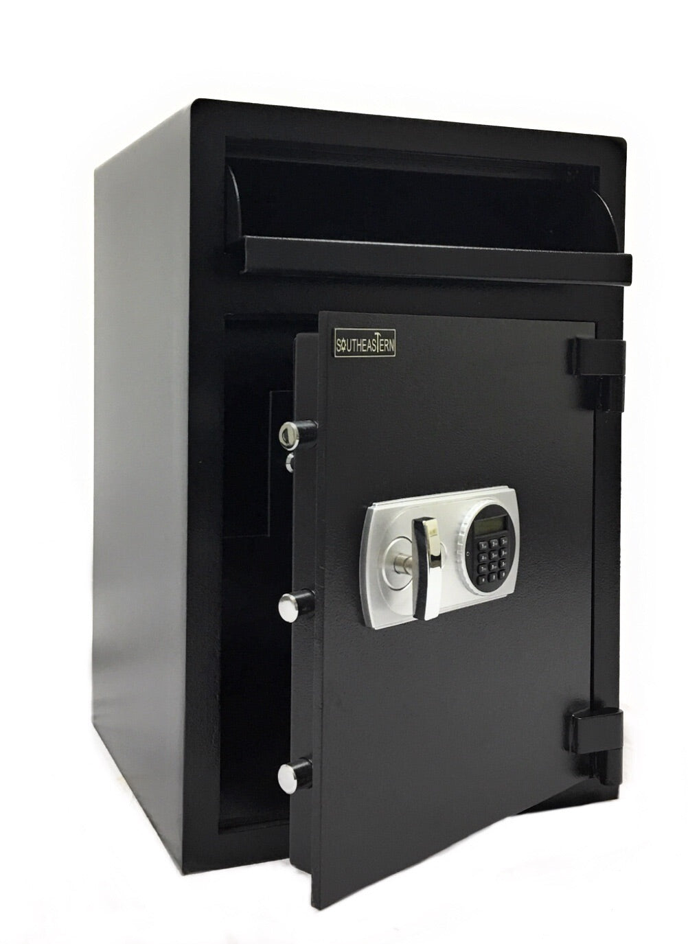 SOUTHEASTERN Drop safe with Quick digital lock including by passing keys and keyed inside compartment